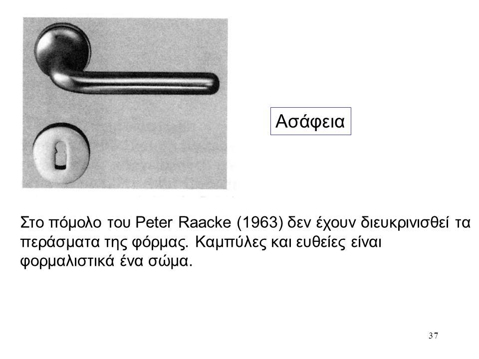 37 Ασάφεια Στο πόμολο του Peter Raacke (1963) δεν έχουν διευκρινισθεί τα περάσματα της φόρμας. Καμπύλες και ευθείες είναι φορμαλιστικά ένα σώμα.