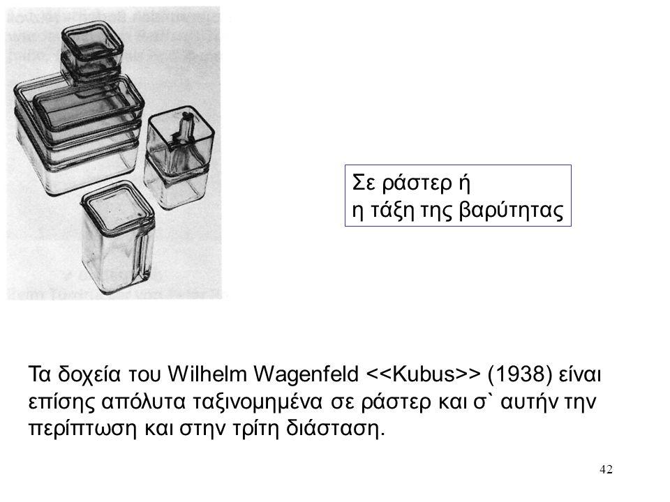 42 Σε ράστερ ή η τάξη της βαρύτητας Τα δοχεία του Wilhelm Wagenfeld > (1938) είναι επίσης απόλυτα ταξινομημένα σε ράστερ και σ` αυτήν την περίπτωση κα