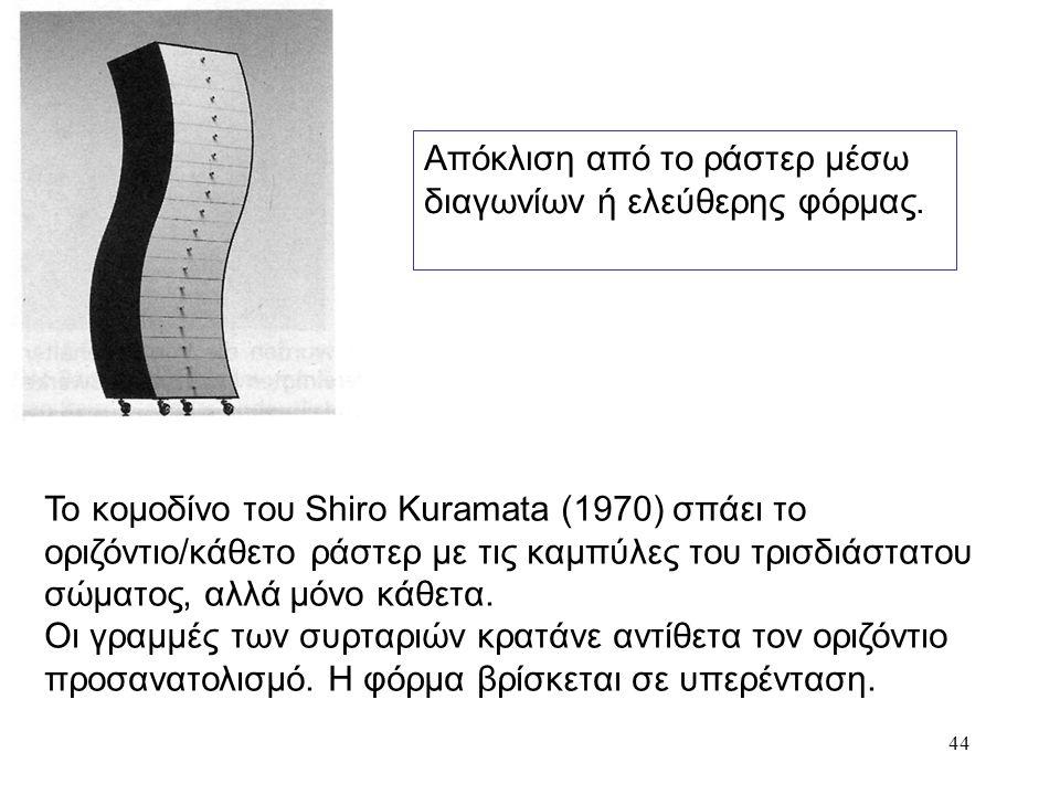 44 Απόκλιση από το ράστερ μέσω διαγωνίων ή ελεύθερης φόρμας. Το κομοδίνο του Shiro Kuramata (1970) σπάει το οριζόντιο/κάθετο ράστερ με τις καμπύλες το