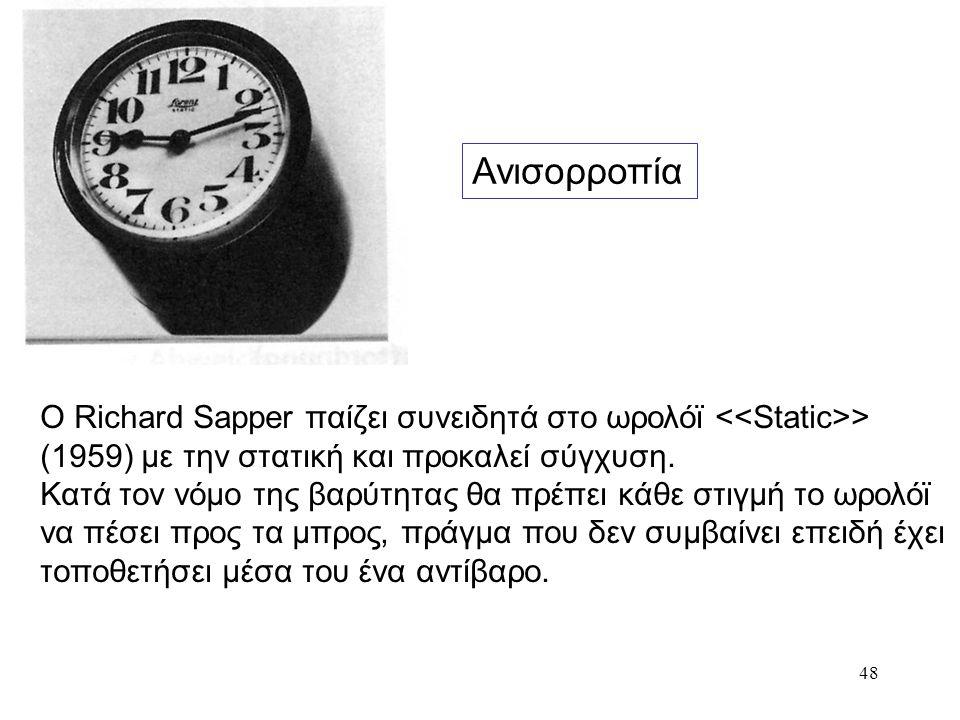 48 Ανισορροπία Ο Richard Sapper παίζει συνειδητά στο ωρολόϊ > (1959) με την στατική και προκαλεί σύγχυση. Κατά τον νόμο της βαρύτητας θα πρέπει κάθε σ