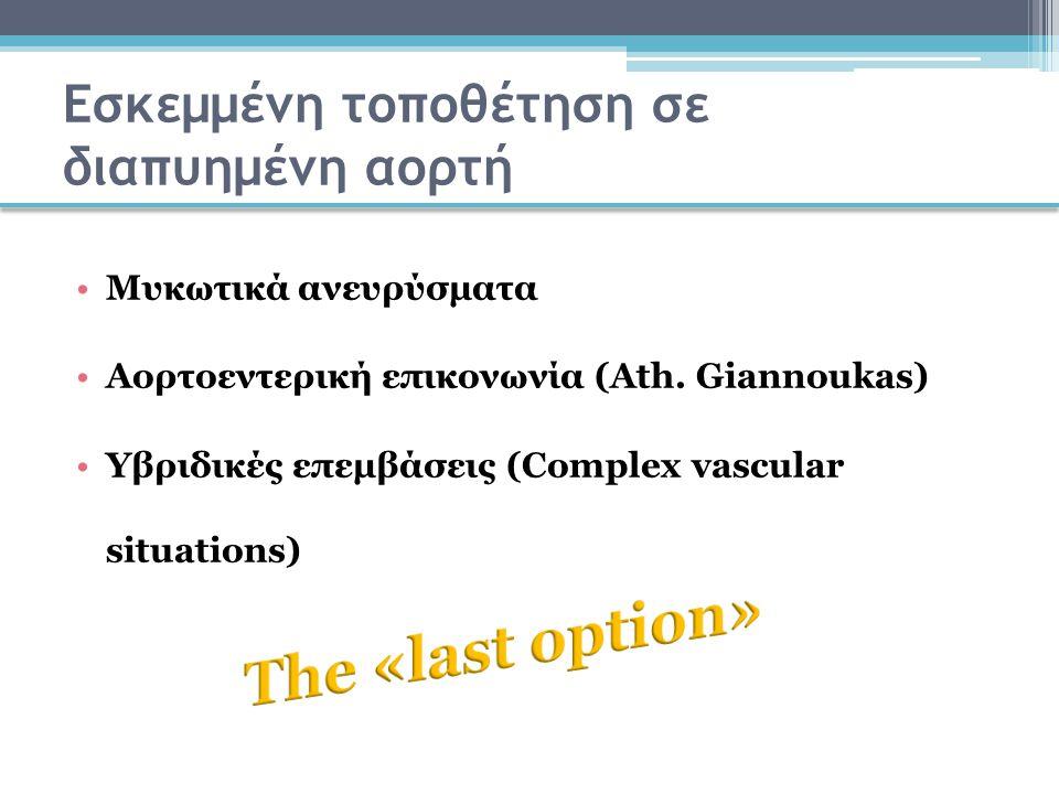 Εσκεμμένη τοποθέτηση σε διαπυημένη αορτή Μυκωτικά ανευρύσματα Αορτοεντερική επικονωνία (Ath. Giannoukas) Υβριδικές επεμβάσεις (Complex vascular situat