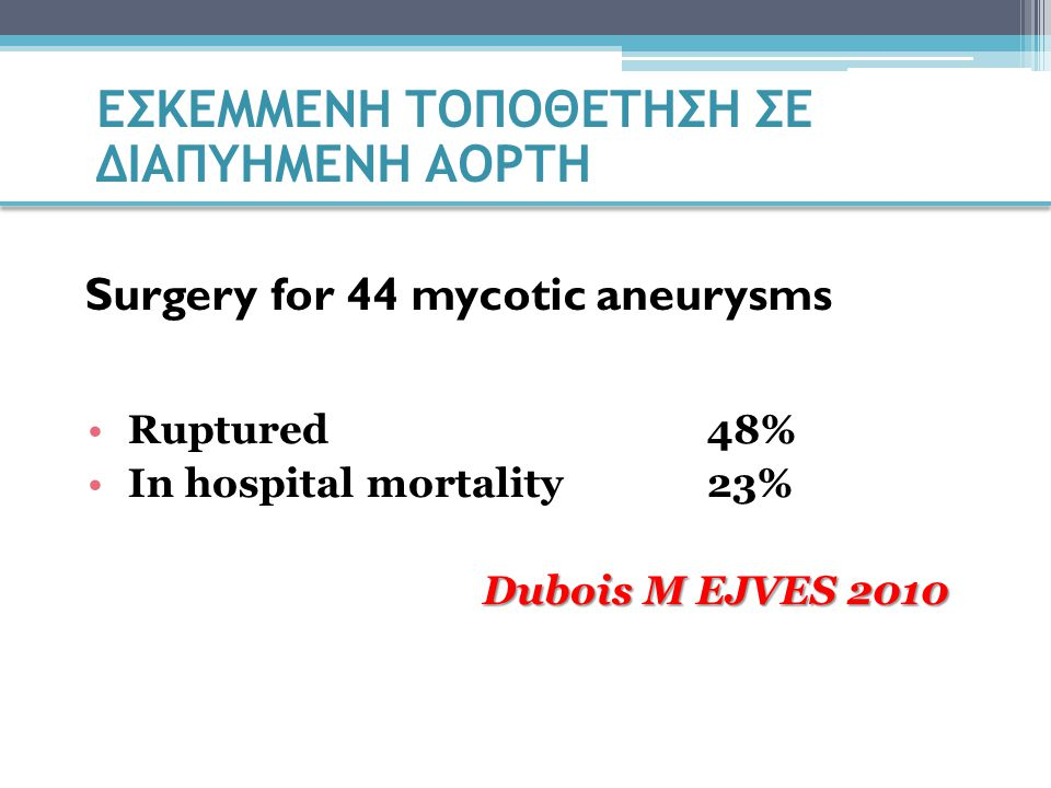 Ruptured48% In hospital mortality23% Dubois M EJVES 2010 Surgery for 44 mycotic aneurysms ΕΣΚΕΜΜΕΝΗ ΤΟΠΟΘΕΤΗΣΗ ΣΕ ΔΙΑΠΥΗΜΕΝΗ ΑΟΡΤΗ