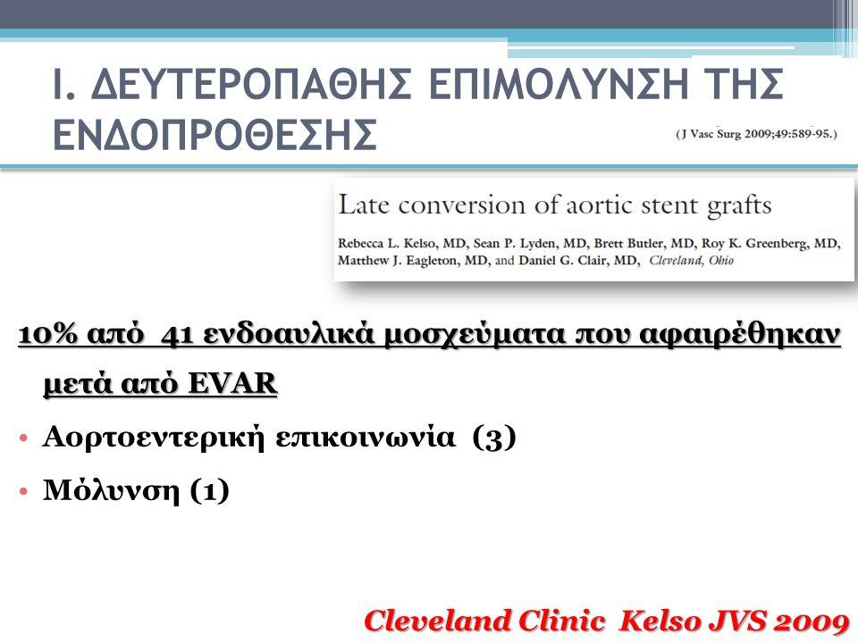 Ι. ΔΕΥΤΕΡΟΠΑΘΗΣ ΕΠΙΜΟΛΥΝΣΗ ΤΗΣ ΕΝΔΟΠΡΟΘΕΣΗΣ 10% από 41 ενδοαυλικά μοσχεύματα που αφαιρέθηκαν μετά από EVAR Αορτοεντερική επικοινωνία (3) Μόλυνση (1) C