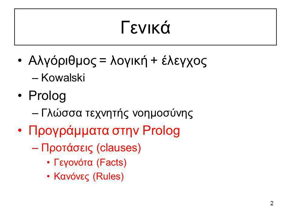 2 Γενικά Αλγόριθμος = λογική + έλεγχος –Kowalski Prolog –Γλώσσα τεχνητής νοημοσύνης Προγράμματα στην Prolog –Προτάσεις (clauses) Γεγονότα (Facts) Kανό
