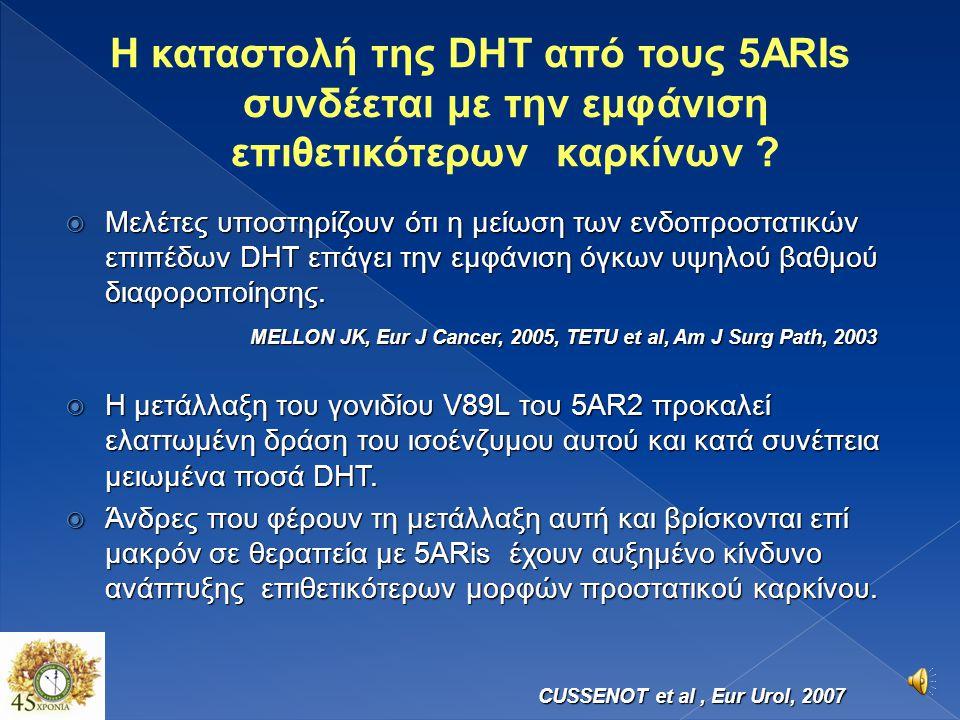  Η καταστολή της DHT από τους 5ARIs συνδέεται με την εμφάνιση επιθετικότερων καρκίνων (?)  Οι 5ARIs καταστέλλουν τα low grade PCAs (?)  Η μείωση του όγκου του προστάτη από τους 5ARIs συντελούν στην αύξηση της διαγνωστικής ακρίβειας της προστατικής βιοψίας, του PSA και της DRE (++++)