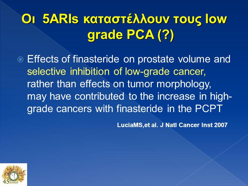 Δεν παρατηρείται αύξηση των καρκίνων χαμηλής διαφοροποίησης με τον χρόνο στην ομάδα της φιναστερίδης