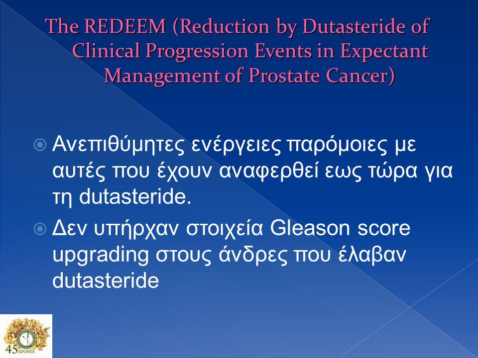  Μείωση κινδύνου προόδου της νόσου (relative risk reduction = 38.9%; P = 0.007)  36% (N = 50) στο dutasteride group δεν είχαν ανιχνεύσιμο καρκίνο στους 36-μήνες  Prostate cancer-related anxiety μειώθηκε στην dutasteride σε σύγκριση με το placebo (P = 0.036)