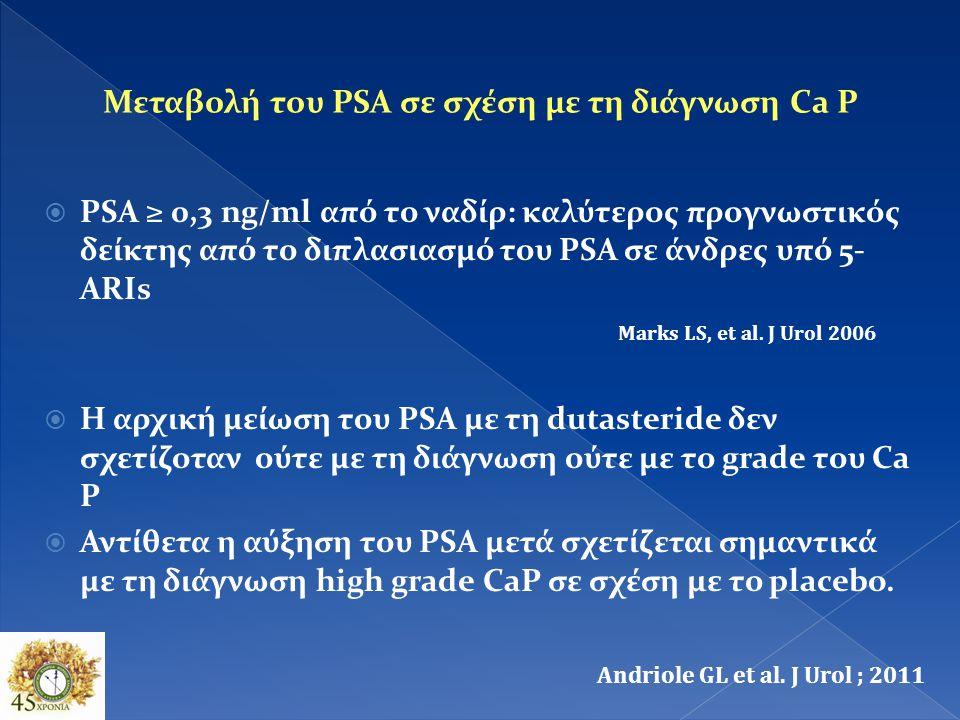 Ο διπλασιασμός της τιμής του PSA ασθενών που λαμβάνουν 5Aris <12 μήνες οδηγεί σε ψευδώς θετικά αποτελέσματα 35% vs 25% και αύξηση του αριθμού των βιοψ