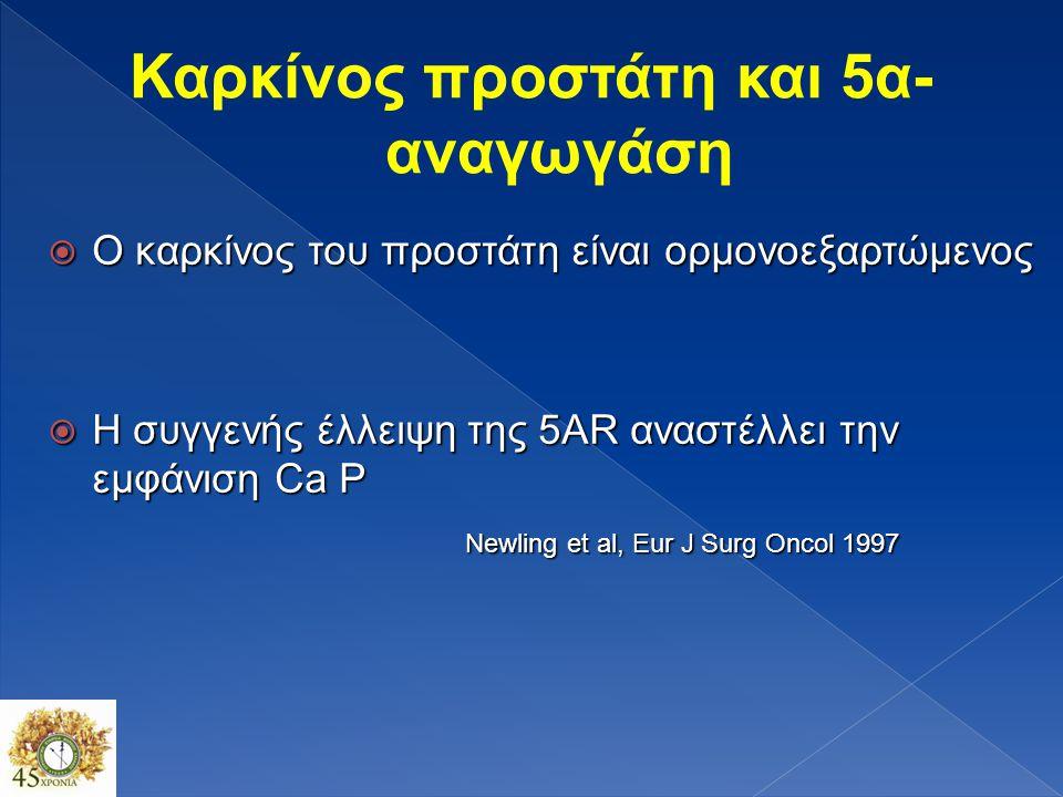  2 κύριοι τύποι 5AR: 5AR1 & 5AR2  5AR1: κυρίως εξωπροστατική εντόπιση (δέρμα,ήπαρ)  5AR2: προστατική εντόπιση  5AR3: πρόσφατα ανακαλύφθηκε (άγνωστη λειτουργία) Thomas LN, et al.