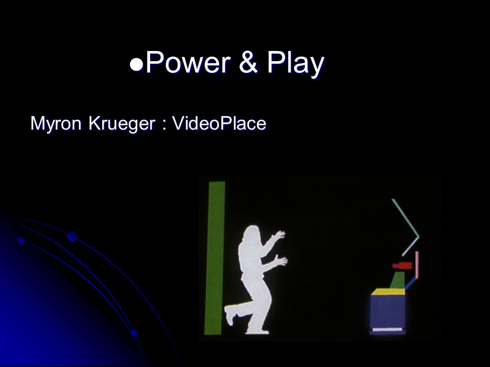 Power & Play Power & Play Myron Krueger : VideoPlace Critter - Fingerpainting Critter - Fingerpainting
