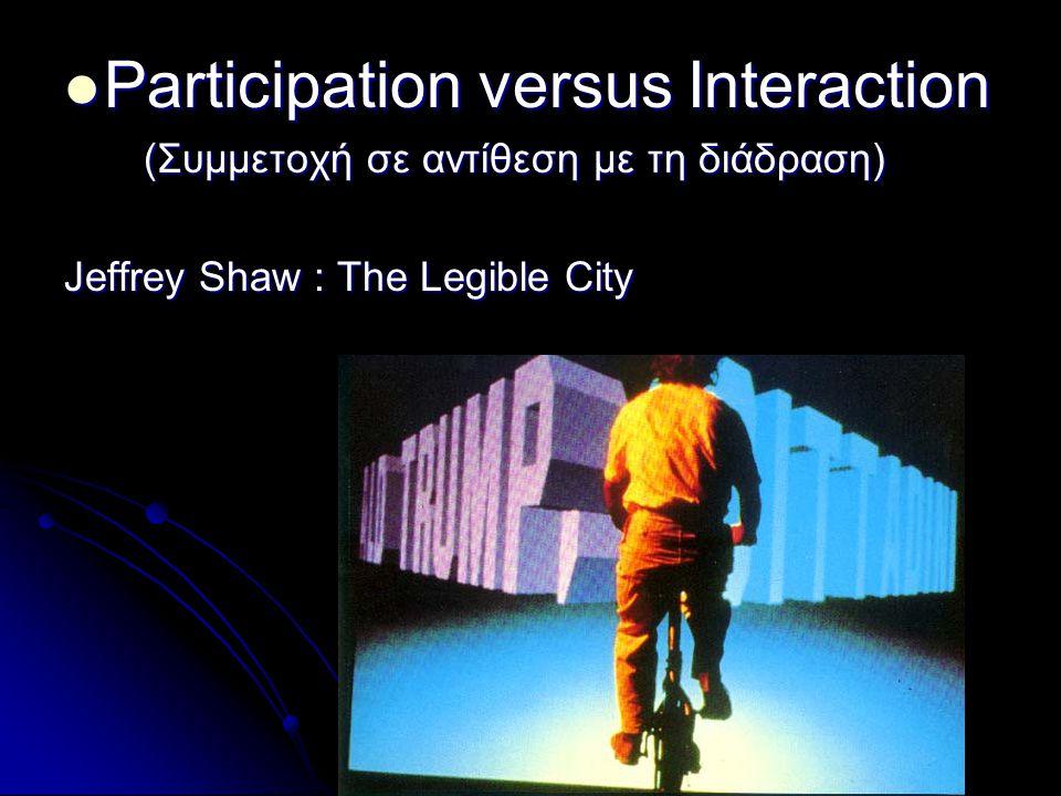 Participation versus Interaction Participation versus Interaction (Συμμετοχή σε αντίθεση με τη διάδραση) (Συμμετοχή σε αντίθεση με τη διάδραση) Jeffre