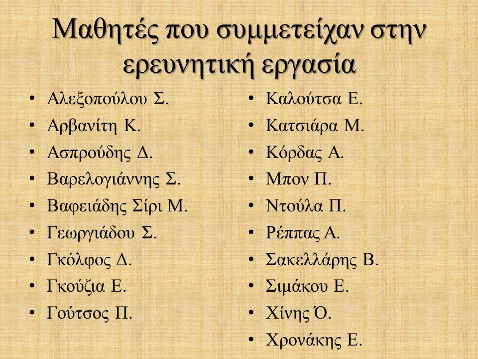 Μαθητές που συμμετείχαν στην ερευνητική εργασία Αλεξοπούλου Σ. Αρβανίτη Κ. Ασπρούδης Δ. Βαρελογιάννης Σ. Βαφειάδης Σίρι Μ. Γεωργιάδου Σ. Γκόλφος Δ. Γκ