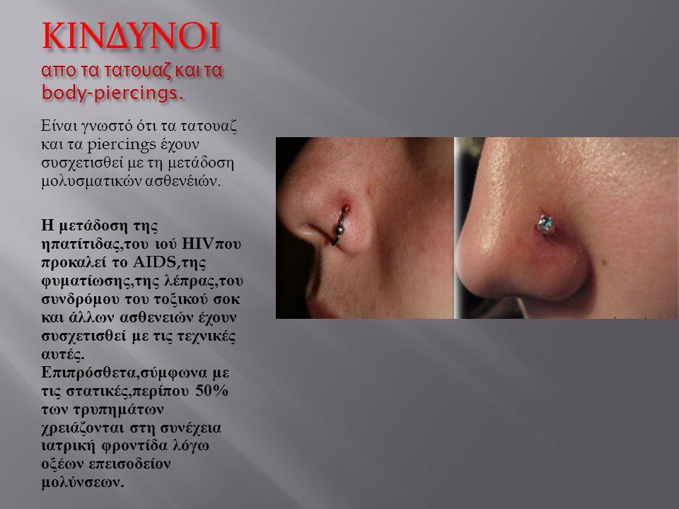 ΚΙΝΔΥΝΟΙ απο τα τατουαζ και τα body-piercings. Είναι γνωστό ότι τα τατουαζ και τα piercings έχουν συσχετισθεί με τη μετάδοση μολυσματικών ασθενέιών. Η