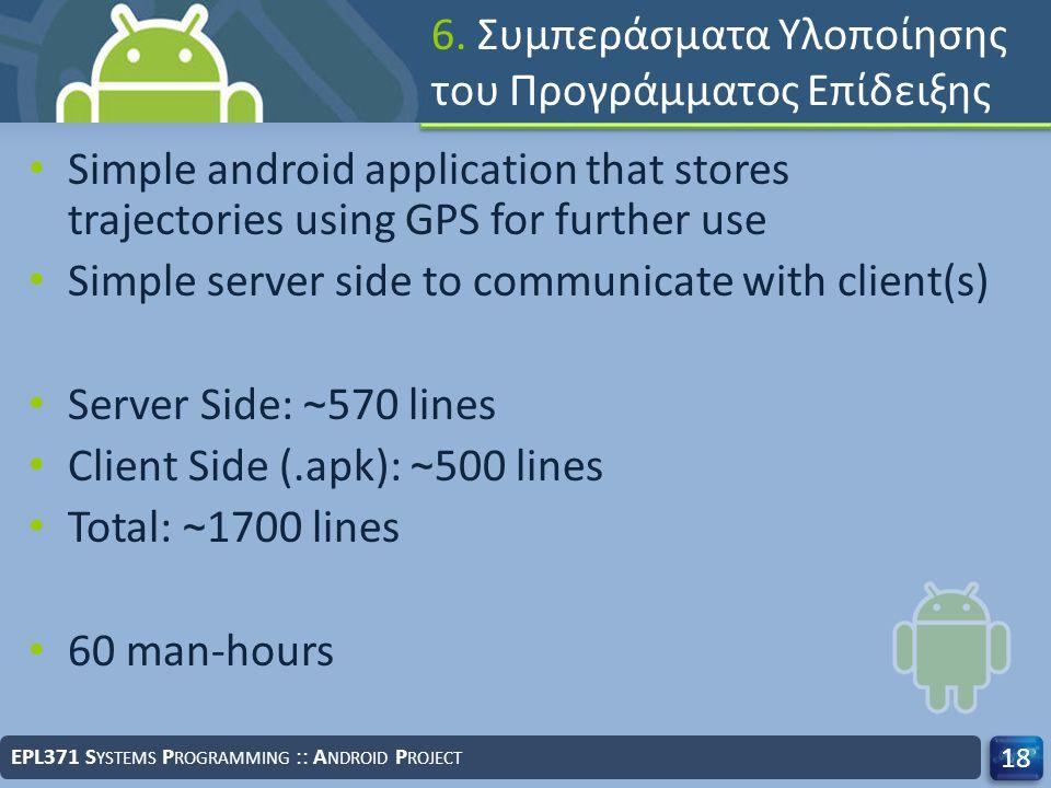 6. Συμπεράσματα Υλοποίησης του Προγράμματος Επίδειξης Simple android application that stores trajectories using GPS for further use Simple server side