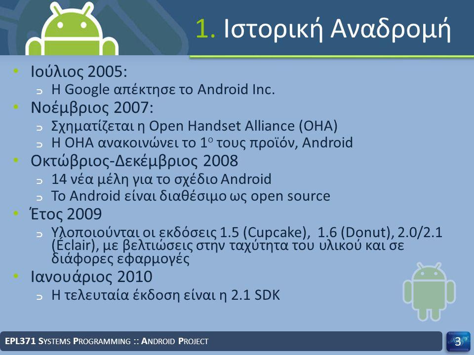 1. Ιστορική Αναδρομή Ιούλιος 2005: ﬤ Η Google απέκτησε το Android Inc. Νοέμβριος 2007: ﬤ Σχηματίζεται η Open Handset Alliance (OHA) ﬤ Η OHA ανακοινών