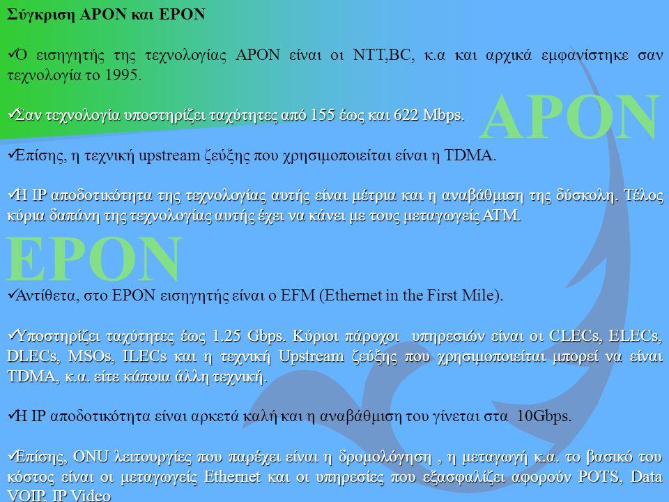 APON EPON Σύγκριση APON και EPON O εισηγητής της τεχνολογίας ΑPON είναι οι NTT,BC, κ.α και αρχικά εμφανίστηκε σαν τεχνολογία το 1995. Σαν τεχνολογία υ