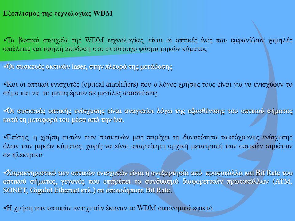 Εξοπλισμός της τεχνολογίας WDM Τα βασικά στοιχεία της WDM τεχνολογίας, είναι οι οπτικές ίνες που εμφανίζουν χαμηλές απώλειες και υψηλή απόδοση στο αντ