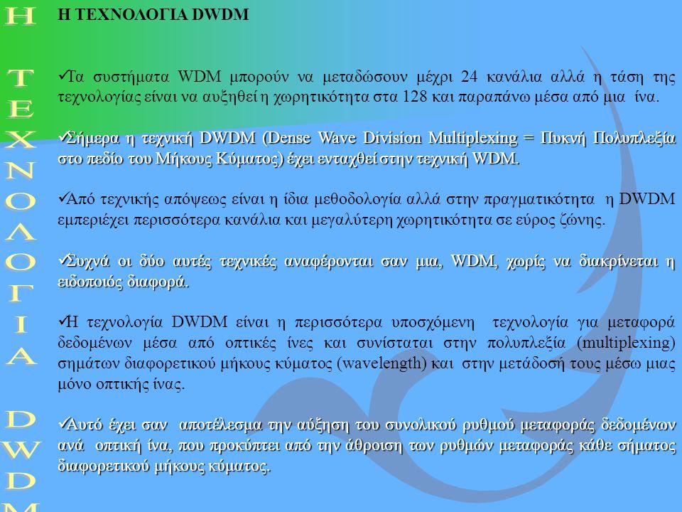 Η ΤΕΧΝΟΛΟΓΙΑ DWDM Τα συστήματα WDM μπορούν να μεταδώσουν μέχρι 24 κανάλια αλλά η τάση της τεχνολογίας είναι να αυξηθεί η χωρητικότητα στα 128 και παρα