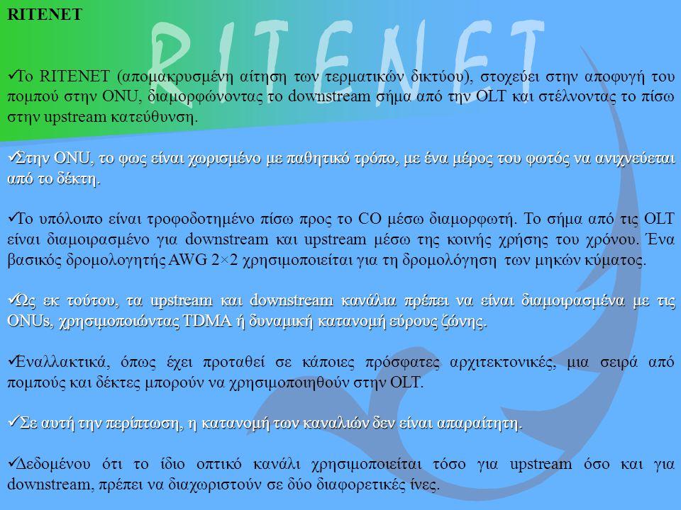 RITENET Το RITENET (απομακρυσμένη αίτηση των τερματικών δικτύου), στοχεύει στην αποφυγή του πομπού στην ONU, διαμορφώνοντας το downstream σήμα από την