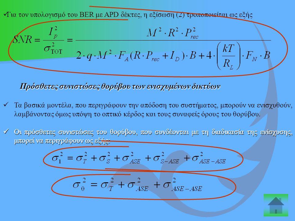 Για τον υπολογισμό του ΒER με APD δέκτες, η εξίσωση (2) τροποποιείται ως εξής Πρόσθετες συνιστώσες θορύβου των ενισχυμένων δικτύων Πρόσθετες συνιστώσε