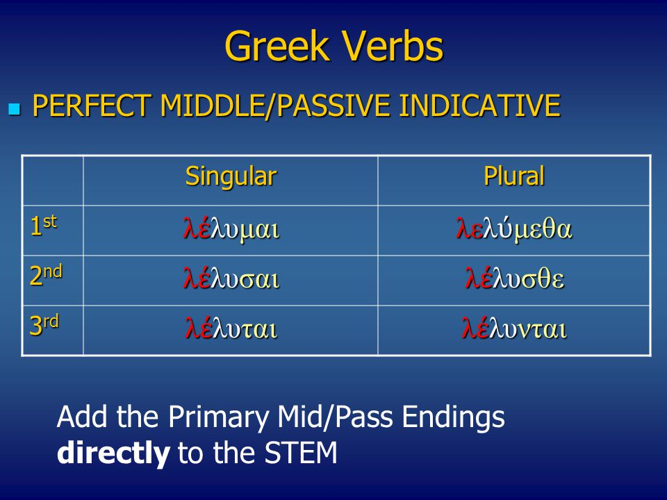 Greek Verbs PERFECT MIDDLE/PASSIVE INDICATIVE PERFECT MIDDLE/PASSIVE INDICATIVE SingularPlural 1 st λ έ λυμαι λελ ύ μεθα 2 nd λ έ λυσαι λ έ λυσθε 3 rd