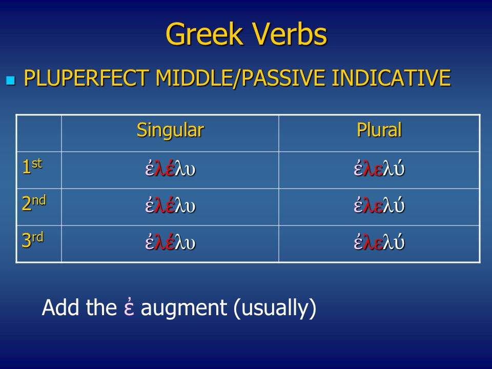 Greek Verbs PLUPERFECT ΜIDDLE/PASSIVE INDICATIVE PLUPERFECT ΜIDDLE/PASSIVE INDICATIVE SingularPlural 1 st ἐ λ έ λυ ἐ λελ ύ 2 nd ἐ λ έ λυ ἐ λελ ύ 3 rd ἐ λ έ λυ ἐ λελ ύ Add the ἐ augment (usually)