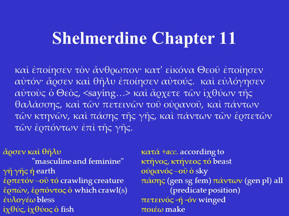 Shelmerdine Chapter 11 καὶ ἐποίησεν τὸν ἄνθρωπον· κατ εἰκόνα Θεοῦ ἐποίησεν αὐτόν· ἄρσεν καὶ θῆλυ ἐποίησεν αὐτούς.