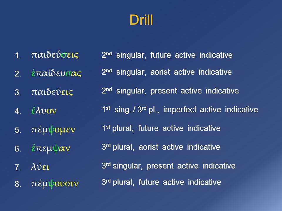 Drill πέμψομεν ἔπεμψαν παιδεύσεις 1. 2 nd singular, future active indicative ἐπαίδευσας 2. παιδεύεις 3. ἔλυον 4. πέμψομεν 5. 6. λύει 7. πέμψουσιν 8. π