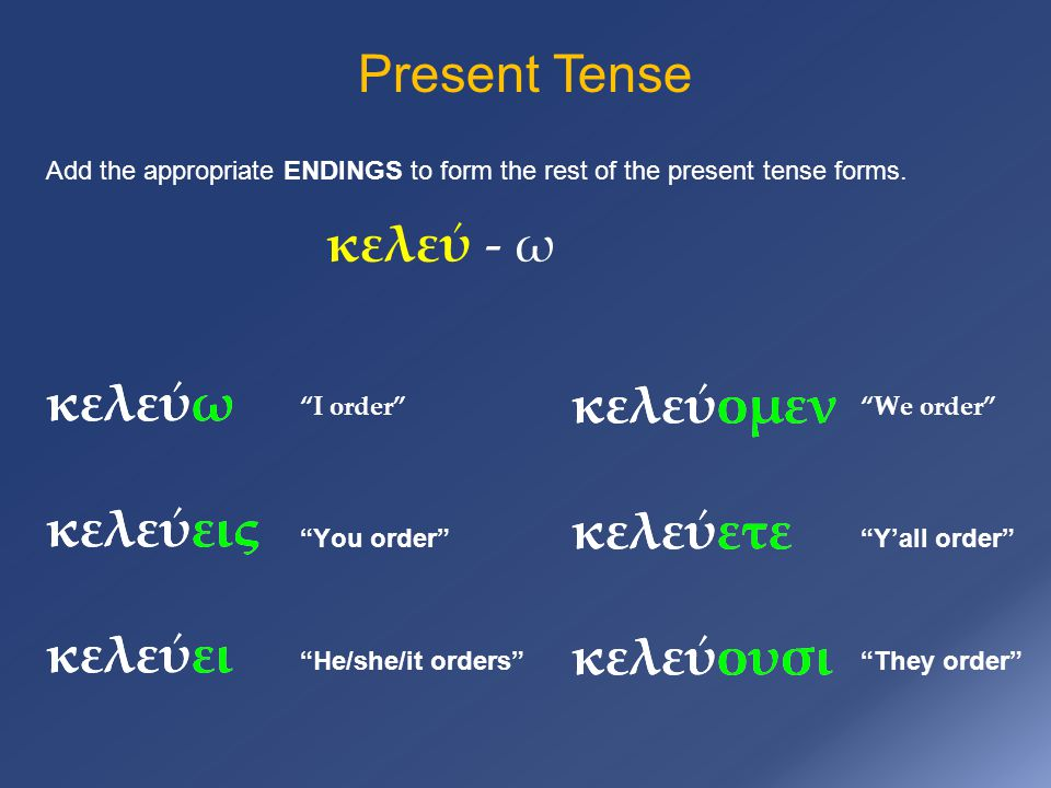 Present Tense Add the appropriate ENDINGS to form the rest of the present tense forms.