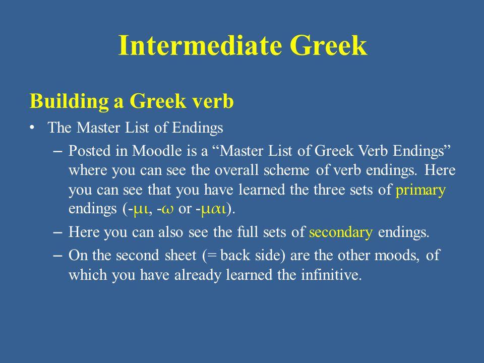 Intermediate Greek ἔλυον ἔλυες ἔλυε ἐλύομεν ἐλύετε ἔλυον Building a Greek Verb The Imperfect Indicative Active of λύω (GPH p.