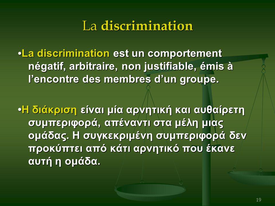 La discrimination La discrimination est un comportement négatif, arbitraire, non justifiable, émis à l'encontre des membres d'un groupe. La discrimina