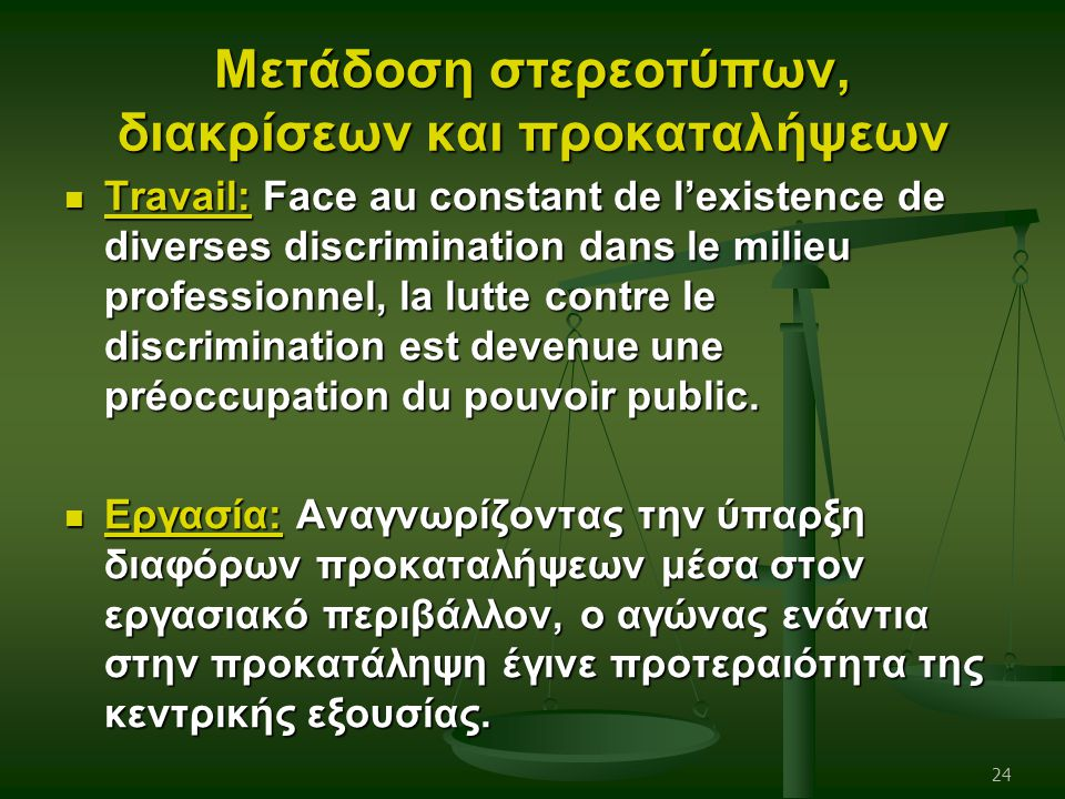 Μετάδοση στερεοτύπων, διακρίσεων και προκαταλήψεων Travail: Face au constant de l'existence de diverses discrimination dans le milieu professionnel, l