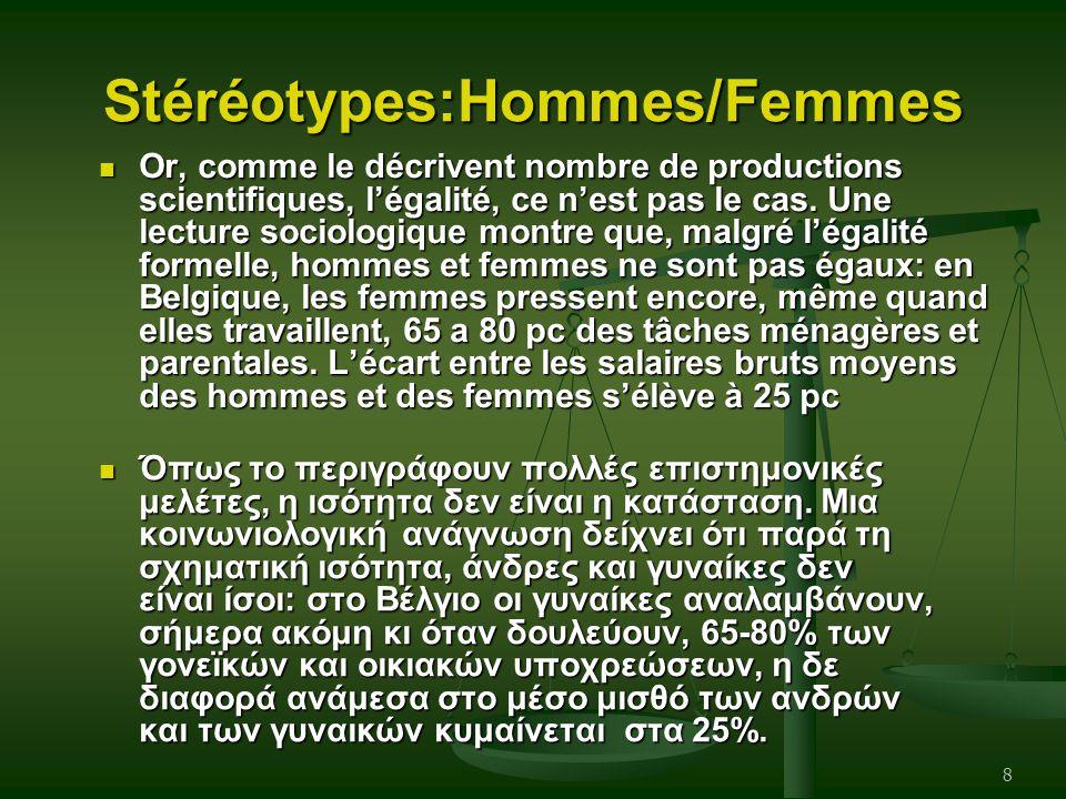Stéréotypes:Hommes/Femmes Όπως το περιγράφουν πολλές επιστημονικές μελέτες, η ισότητα δεν είναι η κατάσταση. Μια κοινωνιολογική ανάγνωση δείχνει ότι π
