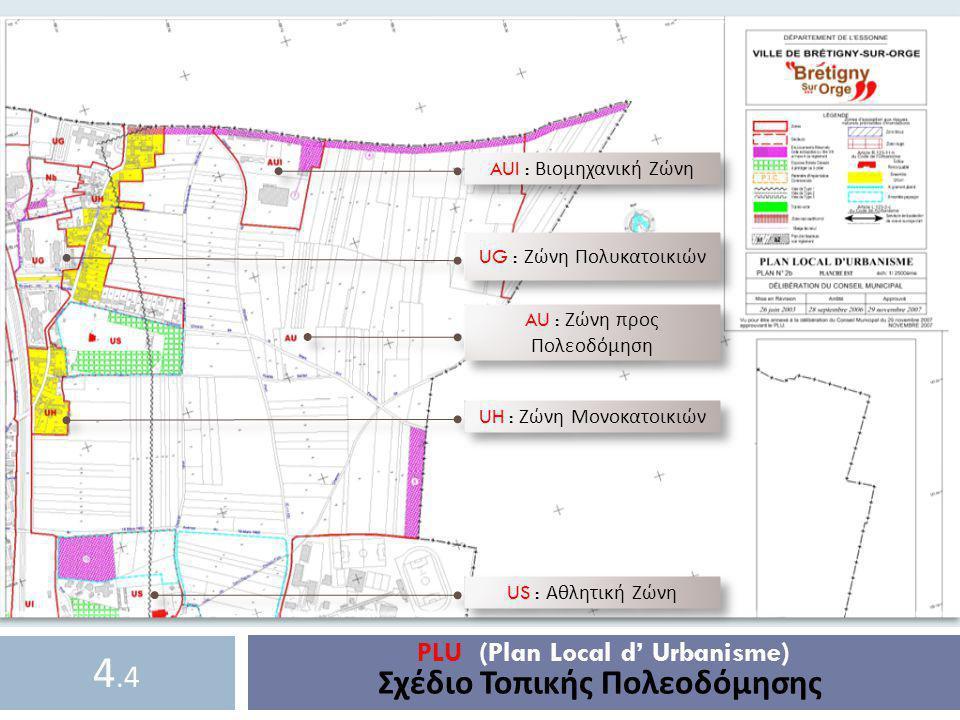 AUI : Βιομηχανική Ζώνη AU : Ζώνη π ρος Πολεοδόμηση US : Αθλητική Ζώνη UH : Ζώνη Μονοκατοικιών UG : Ζώνη Πολυκατοικιών PLU (Plan Local d' Urbanisme) Σχ