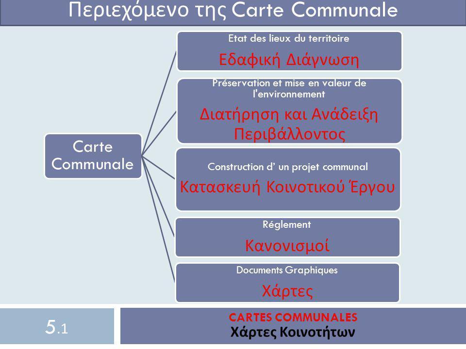 CARTES COMMUNALES Χάρτες Κοινοτήτων Περιεχόμενο της Carte Communale Carte Communale Ε tat des lieux du territoire Εδαφική Διάγνωση Préservation et mis