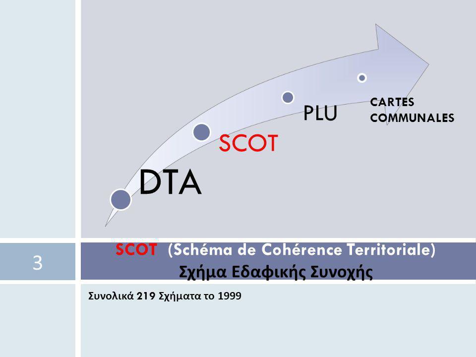 Συνολικά 219 Σχήματα το 1999 SCOT (Schéma de Cohérence Territoriale) Σχήμα Εδαφικής Συνοχής 3 DTA SCOT PLU CARTES COMMUNALES