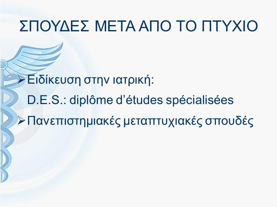 ΔΙΑΓΩΝΙΣΜΟΣ ΓΙΑ ΕΙΔΙΚΟΤΗΤΑ EPREUVES CLASSANTES NATIONALES (ECN)  Ο αριθμός θέσεων στις ειδικότητες καθορίζεται από υπουργική απόφαση (7592 θέσεις για το 2011-2012 και 7626 για το 2012-2013)  Εθνική διαδικασία επιλογής της ειδικότητας και του πανεπιστημιακού νοσοκομειακού κέντρου  Επιλογή ειδικότητας ανάλογα με την σειρά κατάταξης  2η ευκαιρία την επόμενη χρονιά : κάθε υποψήφιος έχει δικαίωμα για 2 μόνο εγγραφές