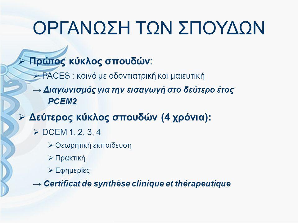 ΟΡΓΑΝΩΣΗ ΤΩΝ ΣΠΟΥΔΩΝ  Πρώτος κύκλος σπουδών:  PACES : κοινό με οδοντιατρική και μαιευτική → Διαγωνισμός για την εισαγωγή στο δεύτερο έτος PCEM2  Δεύτερος κύκλος σπουδών (4 χρόνια):  DCEM 1, 2, 3, 4  Θεωρητική εκπαίδευση  Πρακτική  Εφημερίες → Certificat de synthèse clinique et thérapeutique