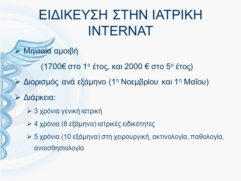 ΕΙΔΙΚΕΥΣΗ ΣΤΗΝ ΙΑΤΡΙΚΗ INTERNAT  Μηνιαία αμοιβή (1700€ στο 1 ο έτος, και 2000 € στο 5 ο έτος)  Διορισμός ανά εξάμηνο (1 η Νοεμβρίου και 1 η Μαΐου)  Διάρκεια:  3 χρόνια γενική ιατρική  4 χρόνια (8 εξάμηνα) ιατρικές ειδικότητες  5 χρόνια (10 εξάμηνα) στη χειρουργική, ακτινολογία, παθολογία, αναισθησιολογία