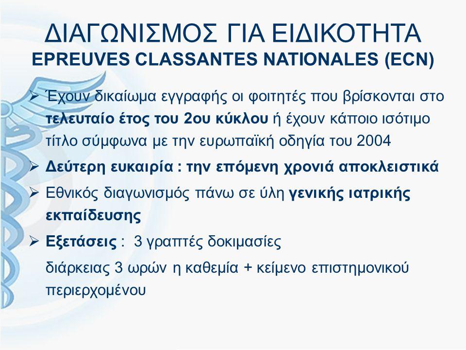 ΔΙΑΓΩΝΙΣΜΟΣ ΓΙΑ ΕΙΔΙΚΟΤΗΤΑ EPREUVES CLASSANTES NATIONALES (ECN)  Έχουν δικαίωμα εγγραφής οι φοιτητές που βρίσκονται στο τελευταίο έτος του 2ου κύκλου ή έχουν κάποιο ισότιμο τίτλο σύμφωνα με την ευρωπαϊκή οδηγία του 2004  Δεύτερη ευκαιρία : την επόμενη χρονιά αποκλειστικά  Εθνικός διαγωνισμός πάνω σε ύλη γενικής ιατρικής εκπαίδευσης  Εξετάσεις : 3 γραπτές δοκιμασίες διάρκειας 3 ωρών η καθεμία + κείμενο επιστημονικού περιερχομένου