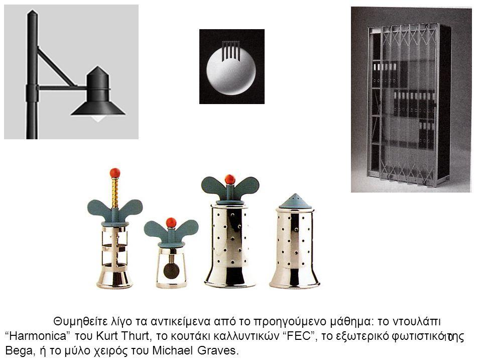 10 Θυμηθείτε λίγο τα αντικείμενα από το προηγούμενο μάθημα: το ντουλάπι Harmonica του Kurt Thurt, το κουτάκι καλλυντικών FEC , το εξωτερικό φωτιστικό της Bega, ή το μύλο χειρός του Michael Graves.