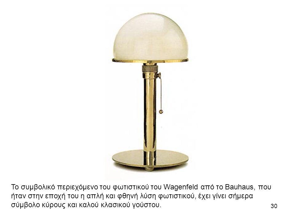 30 Το συμβολικό περιεχόμενο του φωτιστικού του Wagenfeld από το Bauhaus, που ήταν στην εποχή του η απλή και φθηνή λύση φωτιστικού, έχει γίνει σήμερα σύμβολο κύρους και καλού κλασικού γούστου.