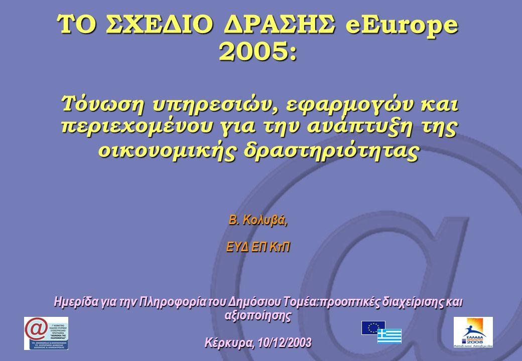 ΤΟ ΣΧΕΔΙΟ ΔΡΑΣΗΣ eEurope 2005: Τόνωση υπηρεσιών, εφαρμογών και περιεχομένου για την ανάπτυξη της οικονομικής δραστηριότητας Β. Κολυβά, ΕΥΔ ΕΠ ΚτΠ Ημερ