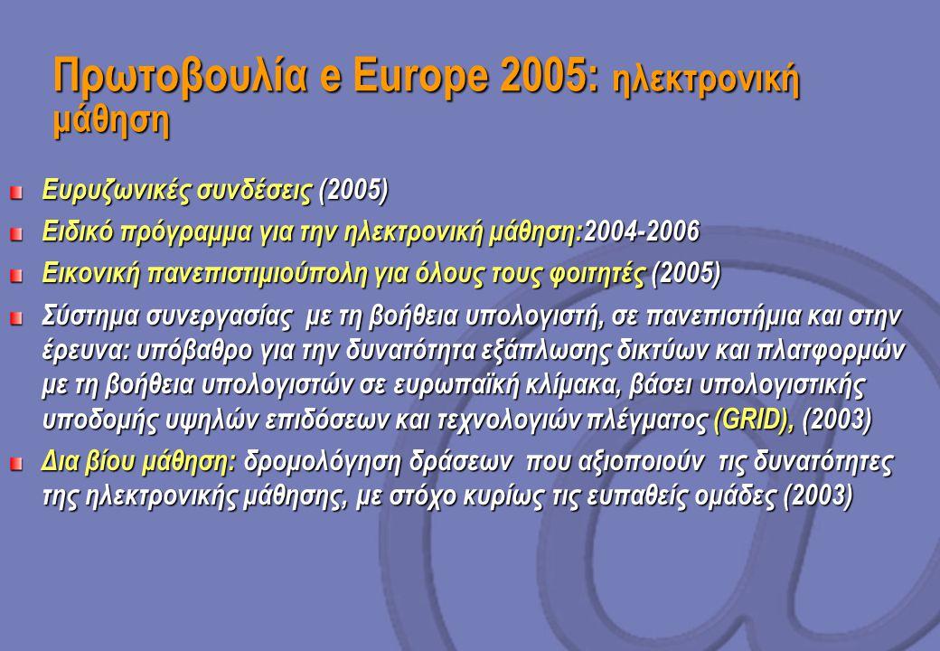 Πρωτοβουλία e Europe 2005: ηλεκτρονική μάθηση Ευρυζωνικές συνδέσεις (2005) Ειδικό πρόγραμμα για την ηλεκτρονική μάθηση:2004-2006 Εικονική πανεπιστιμιούπολη για όλους τους φοιτητές (2005) Σύστημα συνεργασίας με τη βοήθεια υπολογιστή, σε πανεπιστήμια και στην έρευνα: υπόβαθρο για την δυνατότητα εξάπλωσης δικτύων και πλατφορμών με τη βοήθεια υπολογιστών σε ευρωπαϊκή κλίμακα, βάσει υπολογιστικής υποδομής υψηλών επιδόσεων και τεχνολογιών πλέγματος (GRID), (2003) Δια βίου μάθηση: δρομολόγηση δράσεων που αξιοποιούν τις δυνατότητες της ηλεκτρονικής μάθησης, με στόχο κυρίως τις ευπαθείς ομάδες (2003)