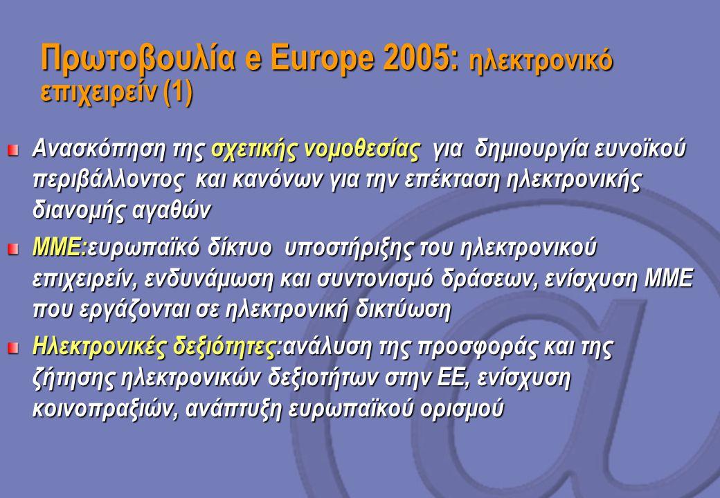 Πρωτοβουλία e Europe 2005: ηλεκτρονικό επιχειρείν (1) Ανασκόπηση της σχετικής νομοθεσίας για δημιουργία ευνοϊκού περιβάλλοντος και κανόνων για την επέκταση ηλεκτρονικής διανομής αγαθών ΜΜΕ:ευρωπαϊκό δίκτυο υποστήριξης του ηλεκτρονικού επιχειρείν, ενδυνάμωση και συντονισμό δράσεων, ενίσχυση ΜΜΕ που εργάζονται σε ηλεκτρονική δικτύωση Ηλεκτρονικές δεξιότητες:ανάλυση της προσφοράς και της ζήτησης ηλεκτρονικών δεξιοτήτων στην ΕΕ, ενίσχυση κοινοπραξιών, ανάπτυξη ευρωπαϊκού ορισμού