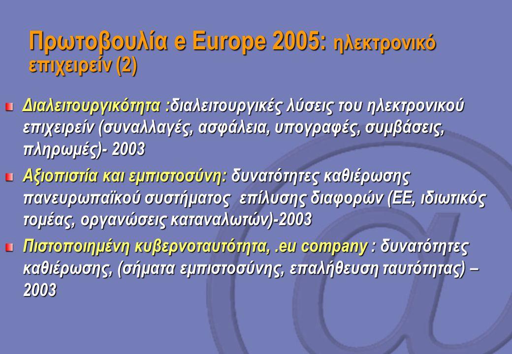 Πρωτοβουλία e Europe 2005: ηλεκτρονικό επιχειρείν (2) Διαλειτουργικότητα :διαλειτουργικές λύσεις του ηλεκτρονικού επιχειρείν (συναλλαγές, ασφάλεια, υπογραφές, συμβάσεις, πληρωμές)- 2003 Αξιοπιστία και εμπιστοσύνη: δυνατότητες καθιέρωσης πανευρωπαϊκού συστήματος επίλυσης διαφορών (ΕΕ, ιδιωτικός τομέας, οργανώσεις καταναλωτών)-2003 Πιστοποιημένη κυβερνοταυτότητα,.eu company : δυνατότητες καθιέρωσης, (σήματα εμπιστοσύνης, επαλήθευση ταυτότητας) – 2003