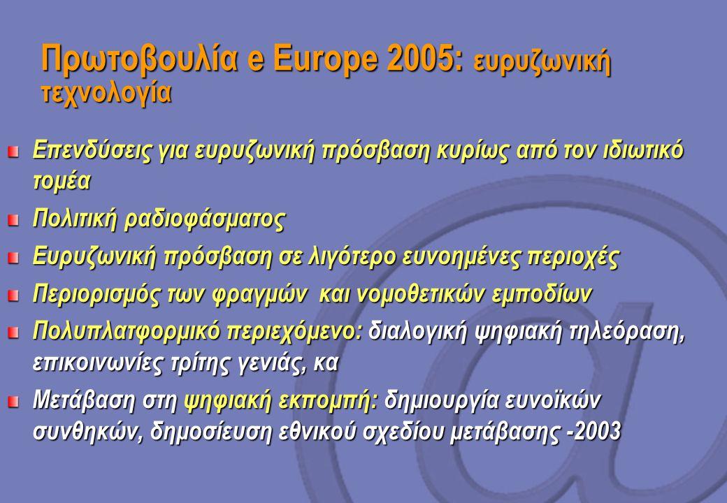 Πρωτοβουλία e Europe 2005: ευρυζωνική τεχνολογία Επενδύσεις για ευρυζωνική πρόσβαση κυρίως από τον ιδιωτικό τομέα Πολιτική ραδιοφάσματος Ευρυζωνική πρόσβαση σε λιγότερο ευνοημένες περιοχές Περιορισμός των φραγμών και νομοθετικών εμποδίων Πολυπλατφορμικό περιεχόμενο: διαλογική ψηφιακή τηλεόραση, επικοινωνίες τρίτης γενιάς, κα Μετάβαση στη ψηφιακή εκπομπή: δημιουργία ευνοϊκών συνθηκών, δημοσίευση εθνικού σχεδίου μετάβασης -2003