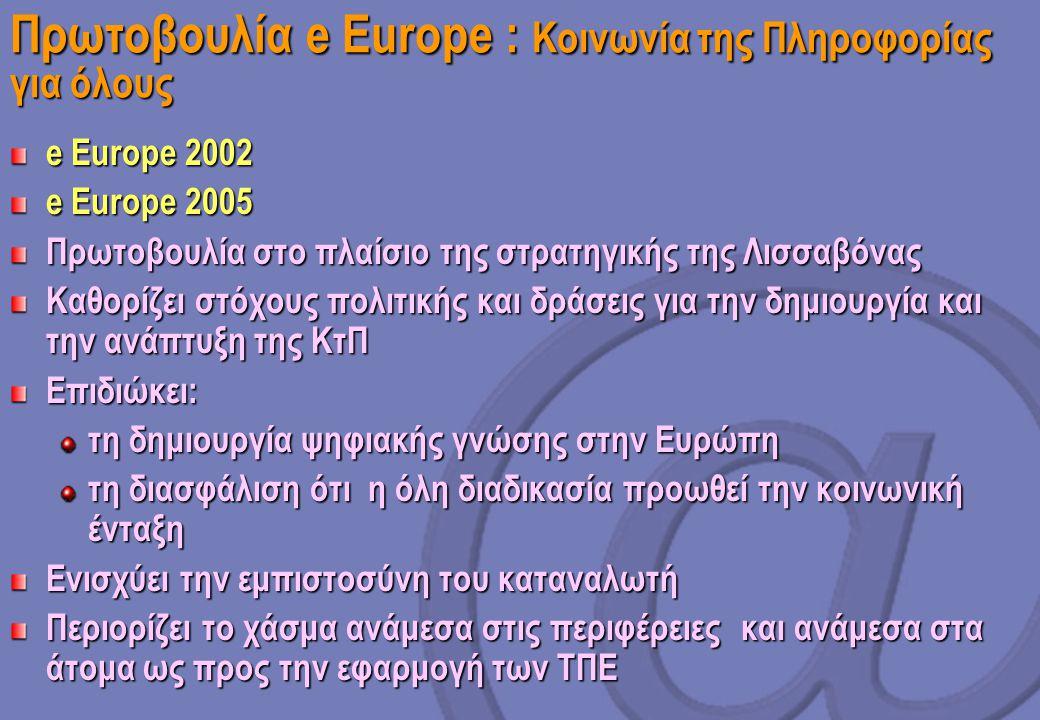 Πρωτοβουλία e Europe : Κοινωνία της Πληροφορίας για όλους e Europe 2002 e Europe 2005 Πρωτοβουλία στο πλαίσιο της στρατηγικής της Λισσαβόνας Καθορίζει