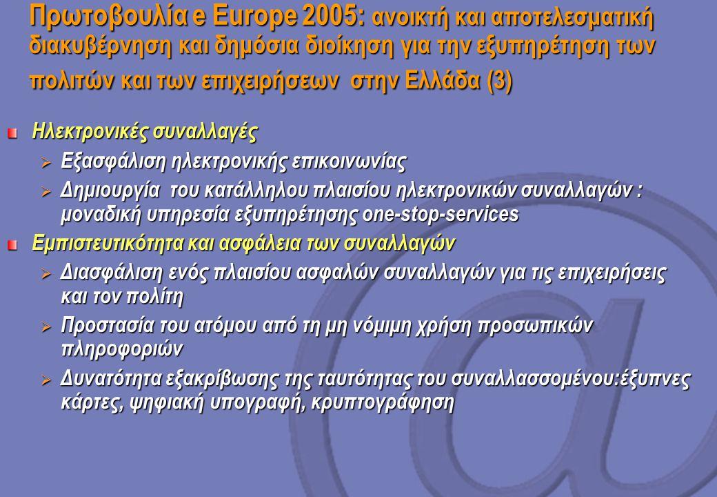 Πρωτοβουλία e Europe 2005: ανοικτή και αποτελεσματική διακυβέρνηση και δημόσια διοίκηση για την εξυπηρέτηση των πολιτών και των επιχειρήσεων στην Ελλάδα (3) Ηλεκτρονικές συναλλαγές  Εξασφάλιση ηλεκτρονικής επικοινωνίας  Δημιουργία του κατάλληλου πλαισίου ηλεκτρονικών συναλλαγών : μοναδική υπηρεσία εξυπηρέτησης one-stop-services Εμπιστευτικότητα και ασφάλεια των συναλλαγών  Διασφάλιση ενός πλαισίου ασφαλών συναλλαγών για τις επιχειρήσεις και τον πολίτη  Προστασία του ατόμου από τη μη νόμιμη χρήση προσωπικών πληροφοριών  Δυνατότητα εξακρίβωσης της ταυτότητας του συναλλασσομένου:έξυπνες κάρτες, ψηφιακή υπογραφή, κρυπτογράφηση
