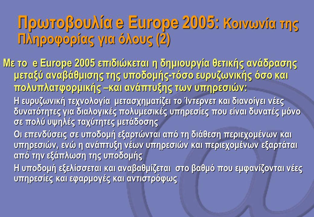 Πρωτοβουλία e Europe 2005: Κοινωνία της Πληροφορίας για όλους (2) Με το e Europe 2005 επιδιώκεται η δημιουργία θετικής ανάδρασης μεταξύ αναβάθμισης της υποδομής-τόσο ευρυζωνικής όσο και πολυπλατφορμικής –και ανάπτυξης των υπηρεσιών:  Η ευρυζωνική τεχνολογία μετασχηματίζει το Ίντερνετ και διανοίγει νέες δυνατότητες για διαλογικές πολυμεσικές υπηρεσίες που είναι δυνατές μόνο σε πολύ υψηλές ταχύτητες μετάδοσης  Οι επενδύσεις σε υποδομή εξαρτώνται από τη διάθεση περιεχομένων και υπηρεσιών, ενώ η ανάπτυξη νέων υπηρεσιών και περιεχομένων εξαρτάται από την εξάπλωση της υποδομής  Η υποδομή εξελίσσεται και αναβαθμίζεται στο βαθμό που εμφανίζονται νέες υπηρεσίες και εφαρμογές και αντιστρόφως